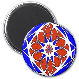 Azul blanco rojo de la muestra del maleficio imán de frigorifico
