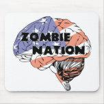 Azul blanco rojo de la nación del zombi tapetes de raton