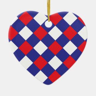 Azul blanco rojo de la tela escocesa 1 adornos de navidad