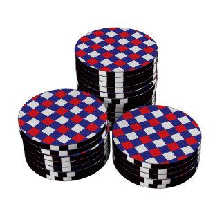 Azul blanco rojo de la tela escocesa 1 juego de fichas de póquer