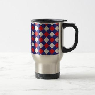 Azul blanco rojo de la tela escocesa 1 taza de viaje