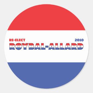 Azul blanco rojo de las elecciones de Roybal-Allar Pegatina Redonda