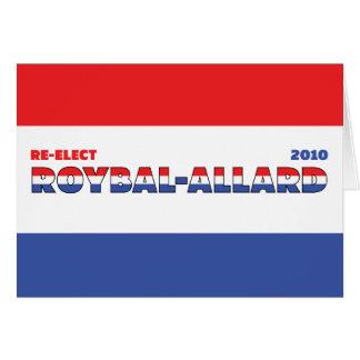 Azul blanco rojo de las elecciones de Roybal-Allar Tarjeton