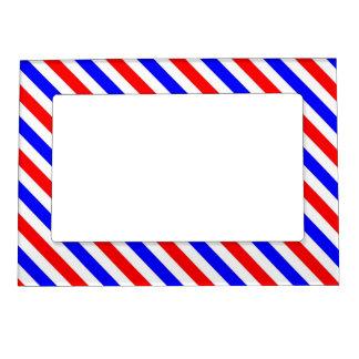Azul blanco rojo de las rayas marcos magnéticos