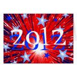 """Azul blanco rojo del fuego artificial """"2012"""" tarje felicitación"""