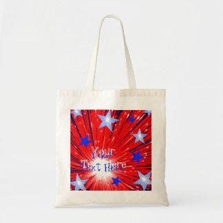 Azul blanco rojo del fuego artificial la bolsa de
