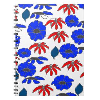 Azul blanco rojo del mélange floral del país del cuadernos