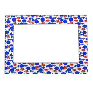 Azul blanco rojo del mélange floral del país del marcos magnéticos