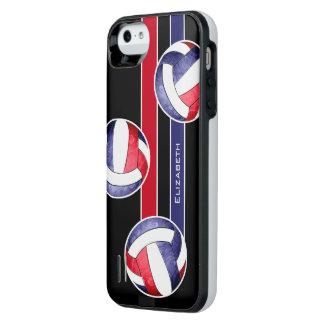 azul blanco rojo del voleibol de las mujeres funda con bateía para iPhone SE/5/5s