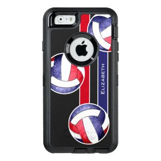 azul blanco rojo del voleibol de las mujeres funda OtterBox defender para iPhone 6