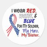 Azul blanco rojo para mi hermana etiquetas
