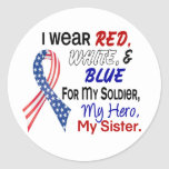 Azul blanco rojo para mi hermana etiquetas redondas