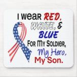 Azul blanco rojo para mi hijo alfombrillas de raton