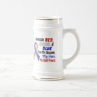 Azul blanco rojo para mi mejor amigo jarra de cerveza