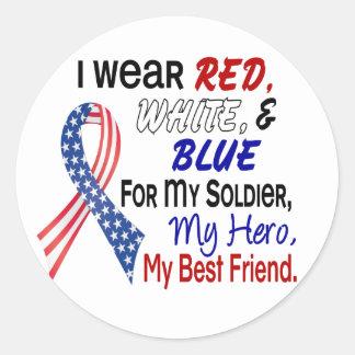 Azul blanco rojo para mi mejor amigo pegatinas
