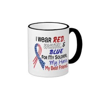 Azul blanco rojo para mi mejor amigo taza a dos colores