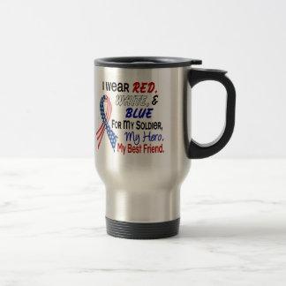 Azul blanco rojo para mi mejor amigo taza de viaje de acero inoxidable