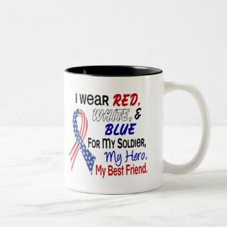Azul blanco rojo para mi mejor amigo taza dos tonos