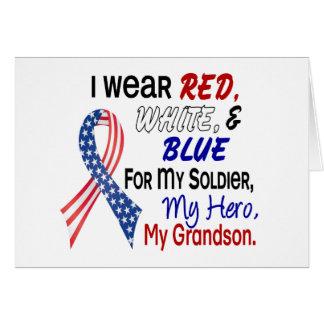 Azul blanco rojo para mi nieto tarjeta de felicitación