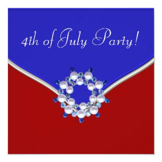 Azul blanco rojo patriótico 4to del fiesta de comunicados personales