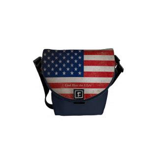 Azul blanco rojo patriótico de la bandera american bolsa messenger
