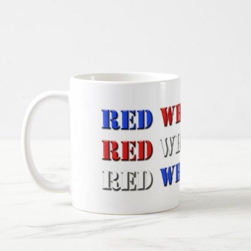 Azul blanco rojo taza de café