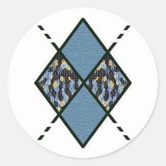 Azul Blue-007 y manchas de Brown Etiquetas Redondas