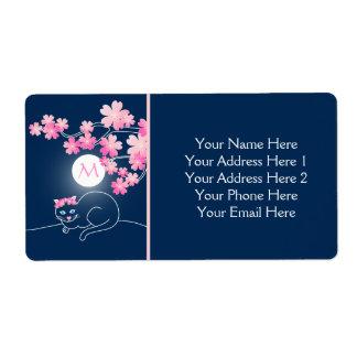 Azul bonito de Sakura del rosa de la luna de las Etiqueta De Envío