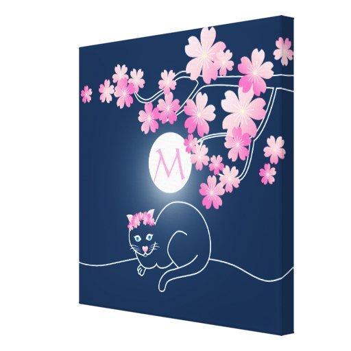 Azul bonito de Sakura del rosa de la luna de las f Lona Envuelta Para Galerias