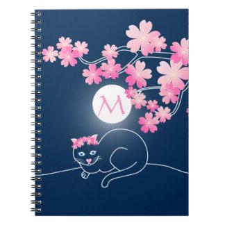 Azul bonito de Sakura del rosa de la luna de las Spiral Notebook