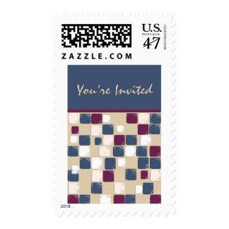 Azul, Borgoña, las tejas de mosaico blancas le Estampillas