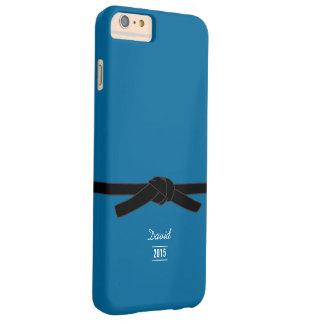 Azul brasileño simple de la correa negra del funda para iPhone 6 plus barely there