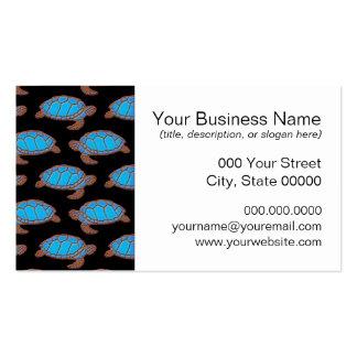 Azul brillante del modelo de la tortuga de mar en tarjetas de visita
