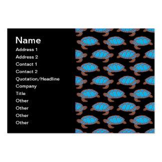 Azul brillante del modelo de la tortuga de mar en tarjetas de visita grandes