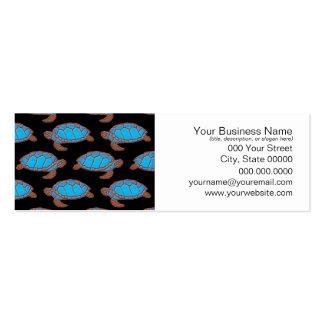 Azul brillante del modelo de la tortuga de mar en tarjetas de visita mini