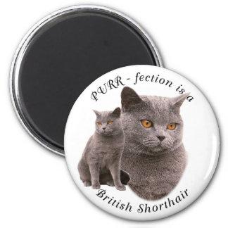Azul británico del shorthair de PPURR-fection Imán Redondo 5 Cm