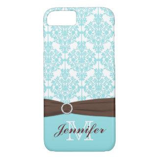 Azul, Brown, caja blanca del iPhone 7 del damasco Funda iPhone 7