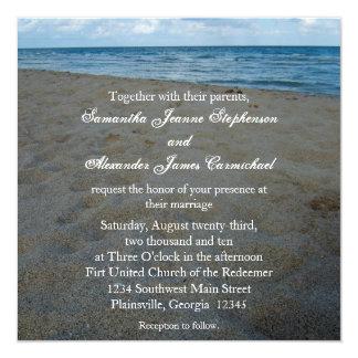 Azul+Brown enarena invitaciones del boda de playa Invitación 13,3 Cm X 13,3cm