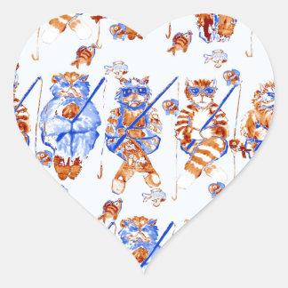 Azul caprichoso colorido del arte popular de los pegatina en forma de corazón
