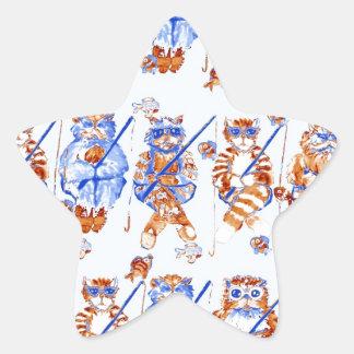 Azul caprichoso colorido del arte popular de los pegatina en forma de estrella