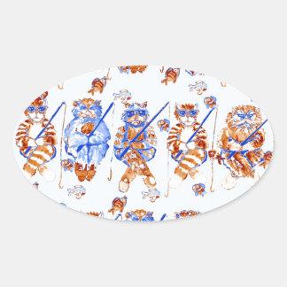 Azul caprichoso colorido del arte popular de los pegatina ovalada