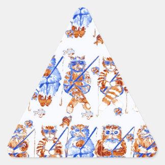 Azul caprichoso colorido del arte popular de los pegatina triangular