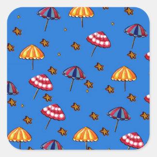 Azul caprichoso del arte popular de los parasoles pegatina cuadrada
