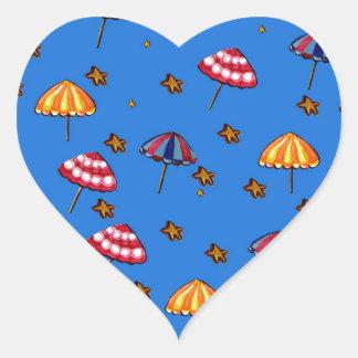Azul caprichoso del arte popular de los parasoles pegatina en forma de corazón