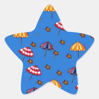 Azul caprichoso del arte popular de los parasoles pegatina en forma de estrella