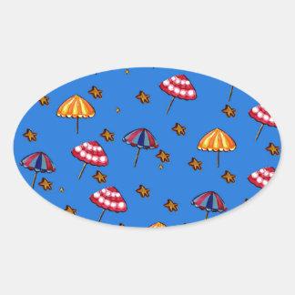 Azul caprichoso del arte popular de los parasoles pegatina ovalada