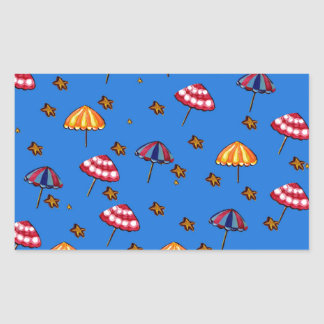 Azul caprichoso del arte popular de los parasoles pegatina rectangular