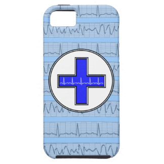 Azul cardiaco del caso del iPhone 5 del ritmo Funda Para iPhone SE/5/5s
