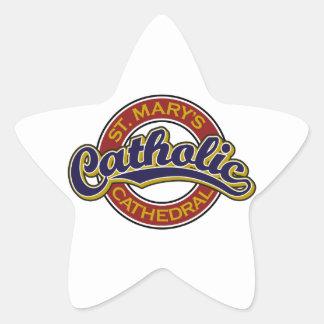 Azul católico de la catedral de St Mary en rojo Calcomania Forma De Estrella