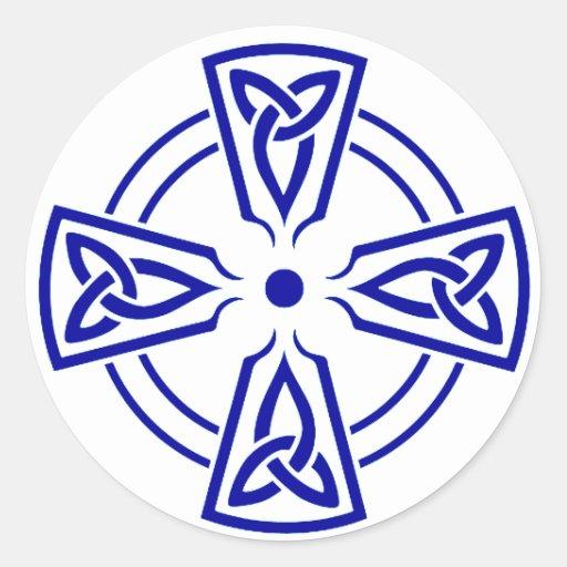 Azul céltico del nudo 5 pegatina redonda